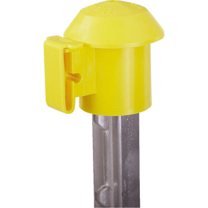 Picture of Dare Cap Yellow Polyethylene T-Post Electric Fence Insulator (10-Pack)