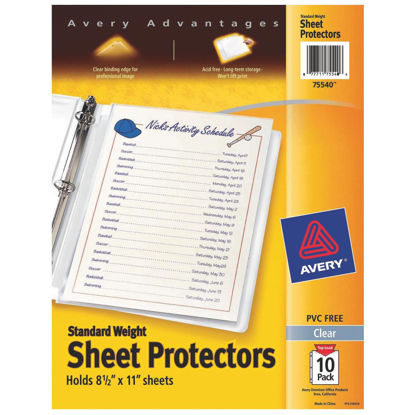 Picture of Avery Products 8-1/2 In. x 11 In. Top Loadin Clear Standard Weight Sheet Protector (10-Pack)