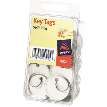 Picture of Avery Round 1-1/4 In. Split Key Ring Card Stock Tag with Metal Rim, (50-Pack)