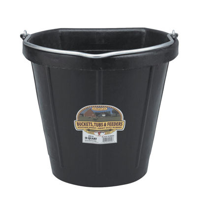 Picture of Little Giant Duraflex 18 Qt. Black Rubber Flat Back Bucket