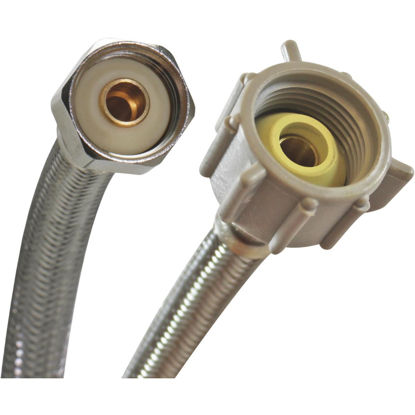 """Picture of Fluidmaster Universal 3/8"""" or 7/16"""" or 1/2"""" MC x 7/8"""" FBC x 9"""" Braided Stainless Steel Toilet Connector"""