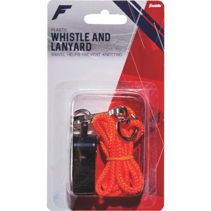 Picture of Franklin Black Plastic Whistle with Lanyard
