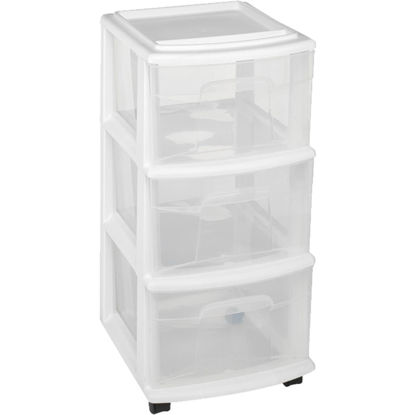 Picture of Homz 12 In. x 27 In. x 14 In. White 3-Drawer Storage Unit with Castors
