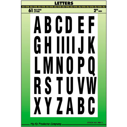 Picture of Hy-Ko Self-Adhesive Polyester 2 In. Black Letter Set