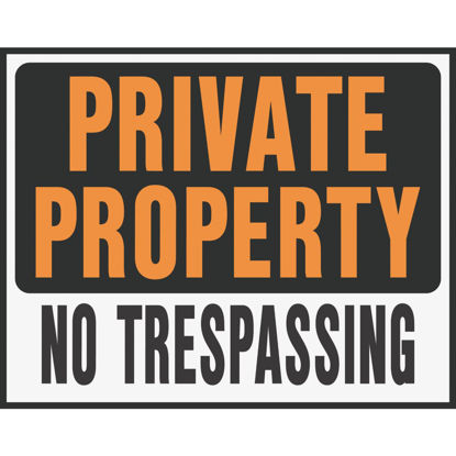 Picture of Hy-Ko Heavy Gauge Plastic Sign, Private Property No Trespassing