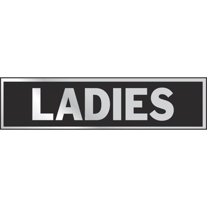 Picture of Hy-Ko Brushed Aluminum Restroom Sign, Ladies
