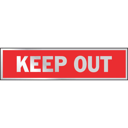 Picture of Hy-Ko Brushed Aluminum Sign, Keep Out