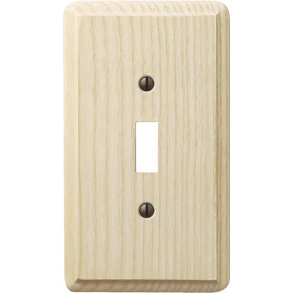 Picture of Amerelle 1-Gang Solid Ash Toggle Switch Wall Plate, Unfinished Ash