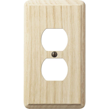 Picture of Amerelle 1-Gang Solid Oak Outlet Wall Plate, Unfinished Ash