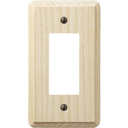 Picture of Amerelle 1-Gang Solid Ash Rocker Decorator Wall Plate, Unfinished Ash