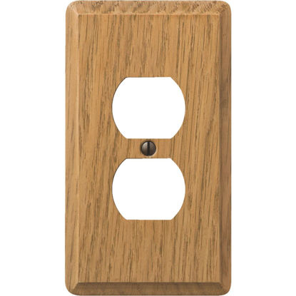 Picture of Amerelle 1-Gang Solid Oak Outlet Wall Plate, Light Oak