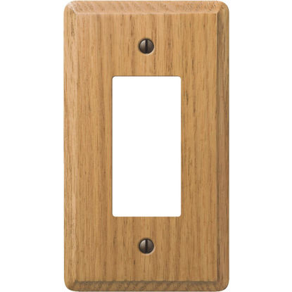 Picture of Amerelle 1-Gang Solid Oak Rocker Decorator Wall Plate, Light Oak