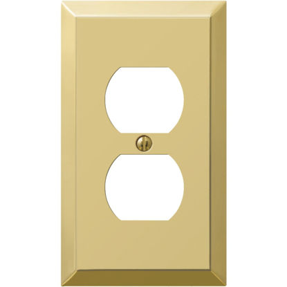 Picture of Amerelle 1-Gang Stamped Steel Outlet Wall Plate, Polished Brass