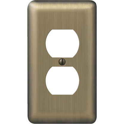 Picture of Amerelle 1-Gang Stamped Steel Outlet Wall Plate, Brushed Brass