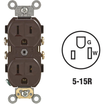 Picture of Leviton 15A Brown Commercial Grade 5-15R Duplex Outlet