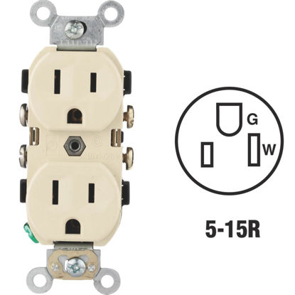 Picture of Leviton 15A Ivory Commercial Grade 5-15R Duplex Outlet