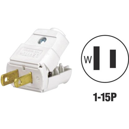 Picture of Leviton 15A 125V 2-Wire 2-Pole Hinged Cord Plug, White