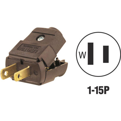 Picture of Leviton 15A 125V 2-Wire 2-Pole Hinged Cord Plug, Brown