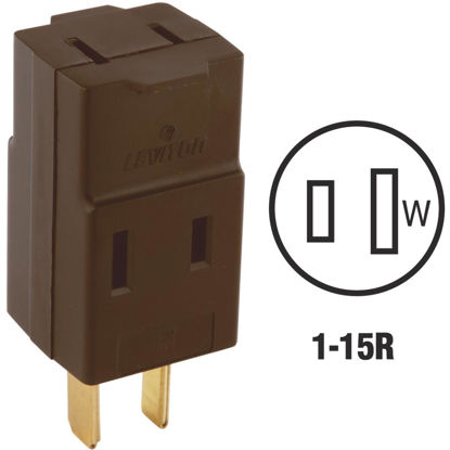 Picture of Leviton Brown 15A 3-Outlet Cube Tap