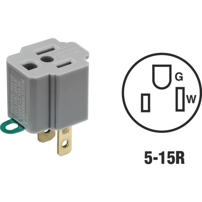 Picture of Leviton 15A 125V Gray Grounding Cube Tap Outlet Adapter