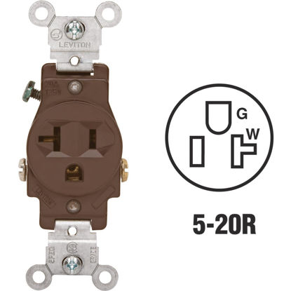 Picture of Leviton 15A Brown Commercial Grade 5-20R Shallow Single Outlet