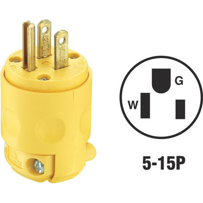 Picture of Leviton 15A 125V 3-Wire 2-Pole Residential Grade Cord Plug, Yellow