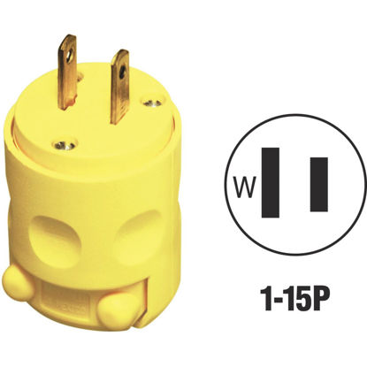 Picture of Leviton 15A 125V 2-Wire 2-Pole Residential Grade Cord Plug, Yellow