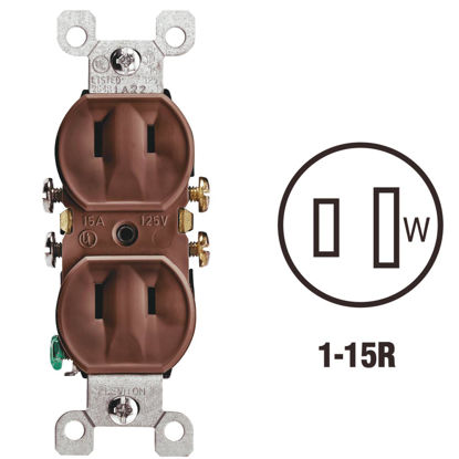 Picture of Leviton 15A Brown Residential Grade 1-15R Duplex Outlet