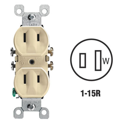 Picture of Leviton 15A Ivory Residential Grade 1-15R Duplex Outlet