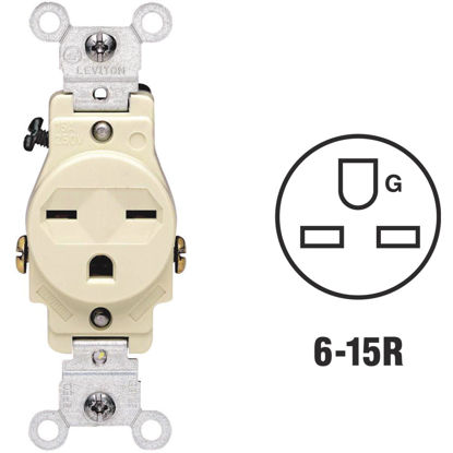 Picture of Leviton 15A Ivory Heavy-Duty 6-15R Grounding Single Outlet