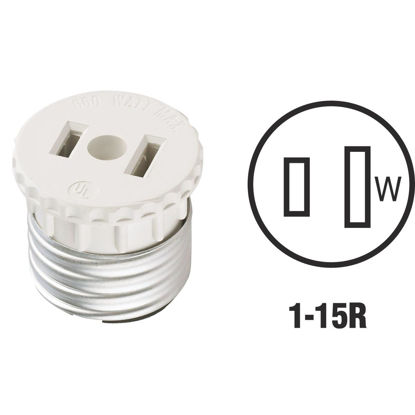 Picture of Leviton 600W 120V White Light Socket Adapter