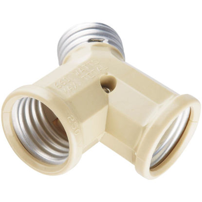 Picture of Leviton Ivory 125V Twin Socket Adapter