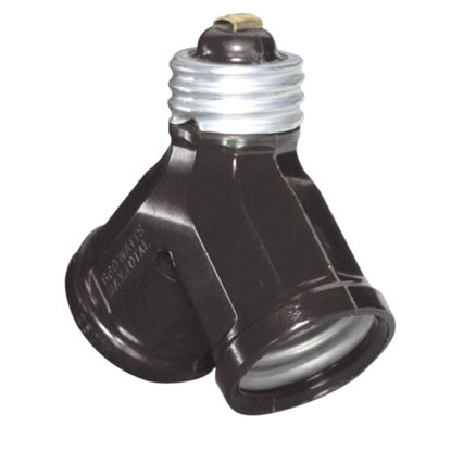 Picture of Leviton Brown 125V Twin Socket Adapter