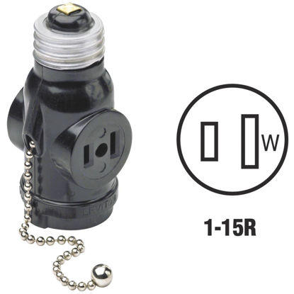 Picture of Leviton Black 125V Pull Chain Socket Adapter