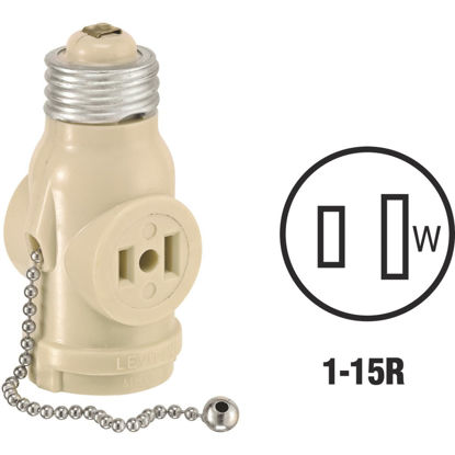 Picture of Leviton Ivory 125V Pull Chain Socket Adapter