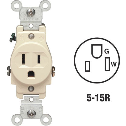 Picture of Leviton 15A Ivory Commercial Grade 5-15R Shallow Single Outlet