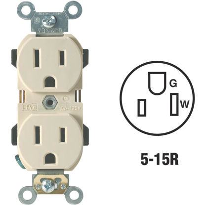 Picture of Leviton 15A Ivory Industrial Grade 5-15R Duplex Outlet