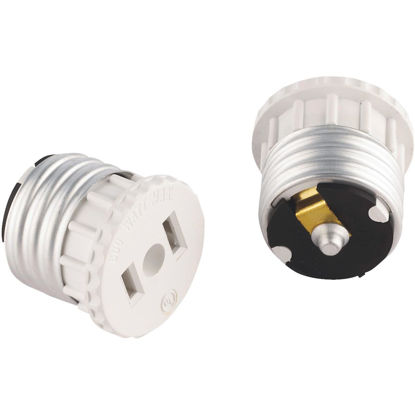 Picture of Leviton 600W 120V White Light Socket Adapter (2-Pack)