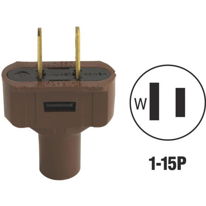 Picture of Do it 15A 125V 2-Wire 2-Pole Vinyl Cord Plug, Brown
