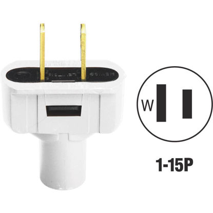 Picture of Do it 15A 125V 2-Wire 2-Pole Vinyl Cord Plug, White