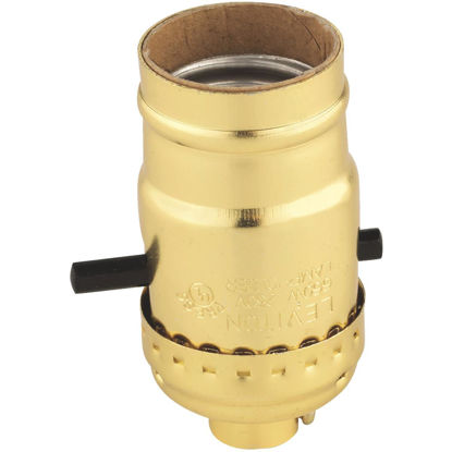 Picture of Do it Push-Button Medium Base Brass Lamp Socket