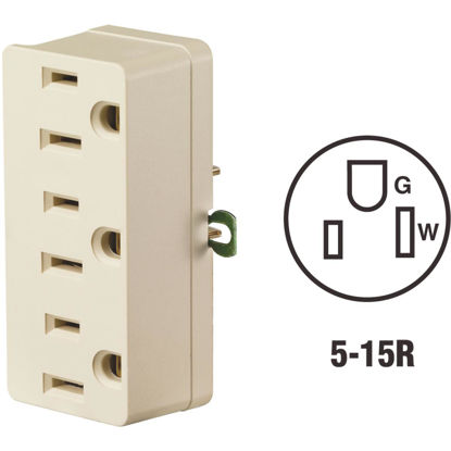 Picture of Leviton Ivory 15A 3-Outlet Tap