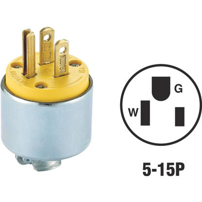 Picture of Do it 15A 125V 3-Wire 2-Pole Armored Cord Plug