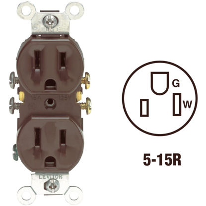 Picture of Leviton 15A Brown Shallow Grounded 5-15R Duplex Outlet