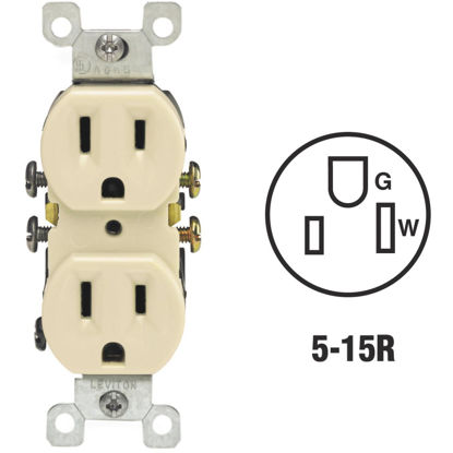 Picture of Leviton 15A Ivory Shallow Grounded 5-15R Duplex Outlet
