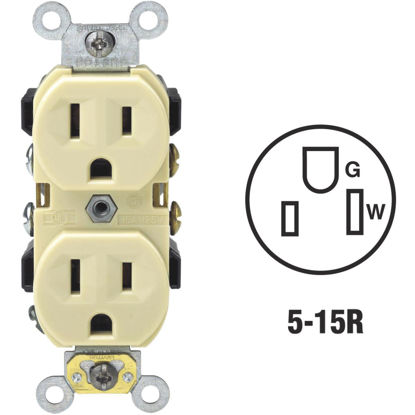 Picture of Leviton 15A Ivory Shallow Commercial Grade 5-15R Duplex Outlet