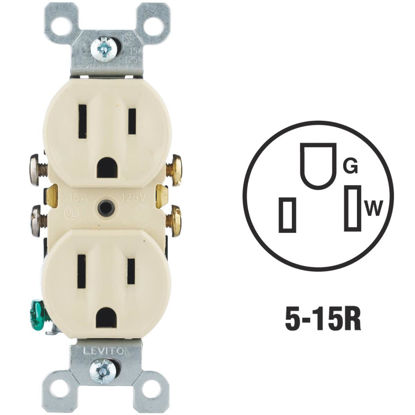 Picture of Do it 15A Ivory Residential Grade 5-15R Duplex Outlet