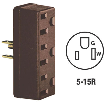 Picture of Leviton Brown 15A 3-Outlet Tap