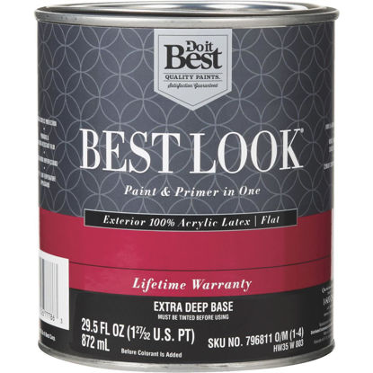 Picture of Best Look 100% Acrylic Latex Paint & Primer In One Flat Exterior House Paint, Exra Deep Base, 1 Qt.
