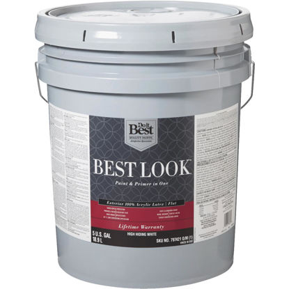 Picture of Best Look 100% Acrylic Latex Paint & Primer In One Flat Exterior House Paint, High Hiding White, 5 Gal.